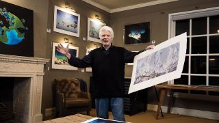 Roger Dean with paintings in the Trading Boundaries art gallery