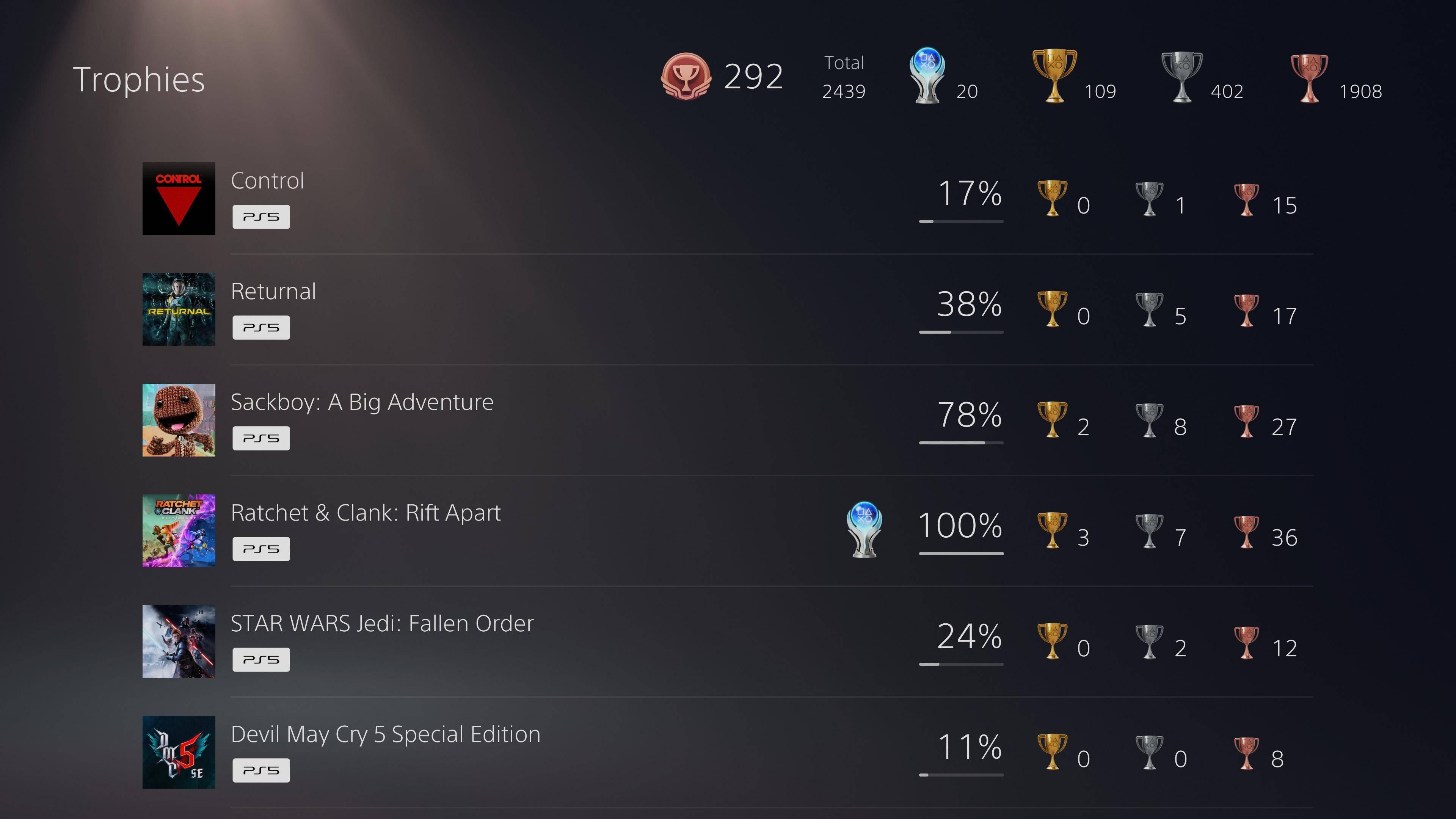 PS5 Trophies list showing multiple titles
