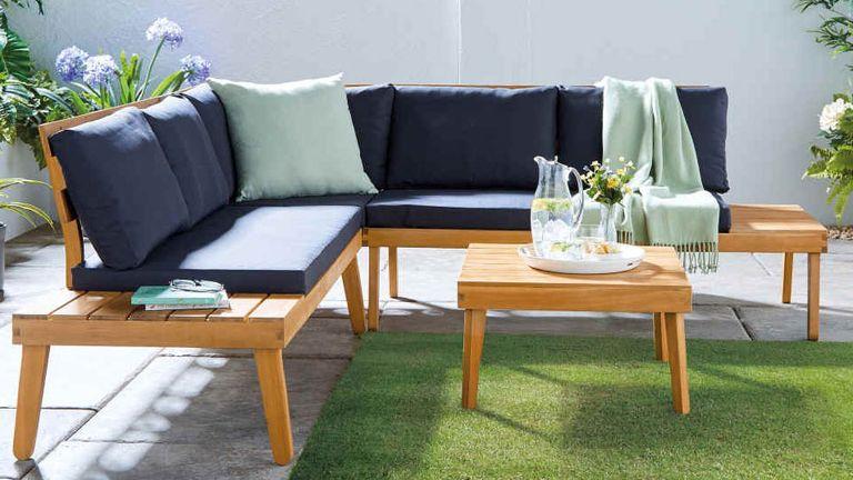 Aldi garden furniture: l shaped wooden furniture in garden