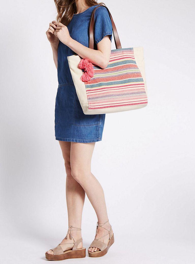 M&S Cotton Rich Canvas Striped Tote Bag