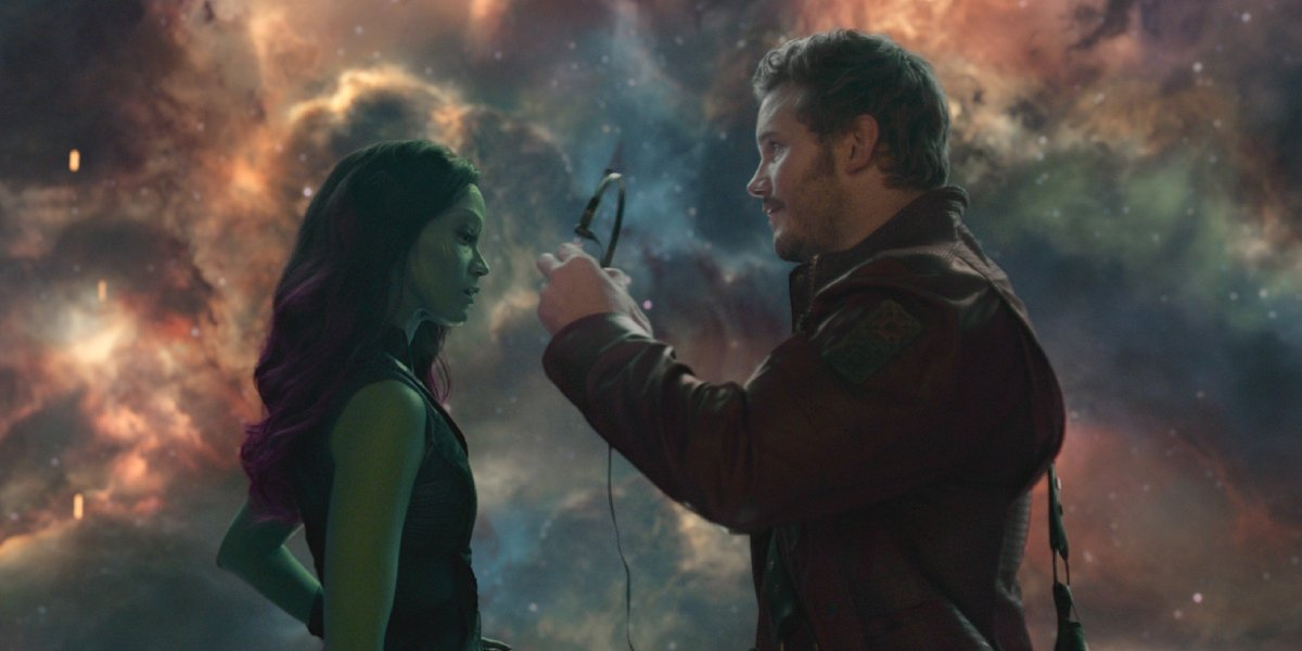 Peter Quill shows Gamora his Awesome Mix in Guardians of the Galaxy