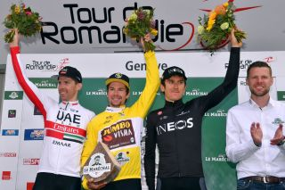 GENVE SWITZERLAND MAY 05 Podium Rui Alberto Faria da Costa of Portugal and UAE Team Emirates Primoz Roglic of Slovenia and Team JumboVisma Yellow Leader Jersey Geraint Thomas of Great Britain and Team INEOS Celebration during the 73rd Tour de Romandie 2019 Stage 5 a 169km Individual Time Trial from Genve to Genve ITT TDR2019 TourDeRomandie on May 05 2019 in Genve Switzerland Photo by Luc ClaessenGetty Images