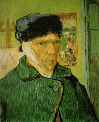 "Vincent van Gogh's ""Self-portrait with bandaged ear,"" painted in 1889, shortly after he cut his own ear off."