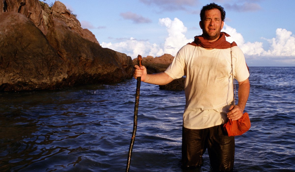 Cast Away Tom Hanks wading in the waters