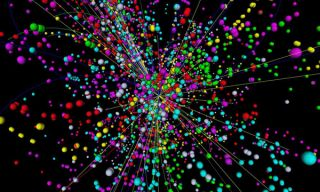 Particle collision simulation higgs bosons