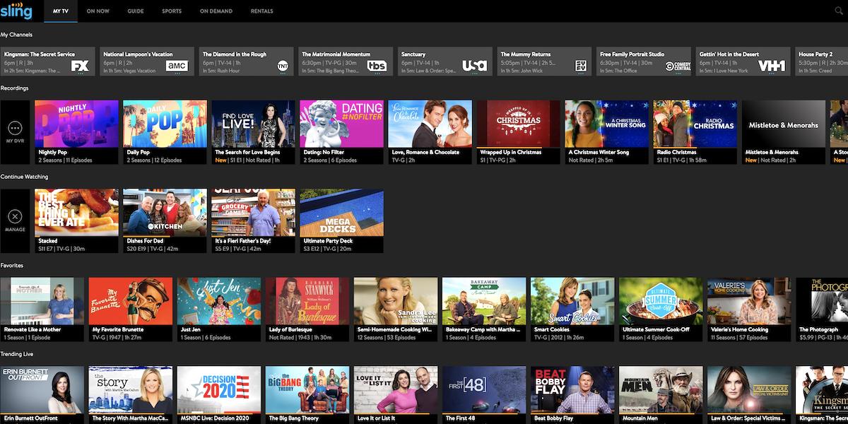 sling tv homepage