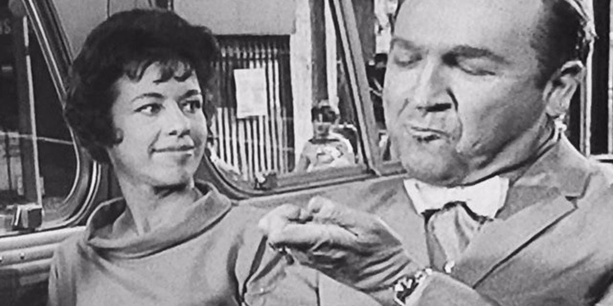 Carol Burnett on the left, Jesse White on the right