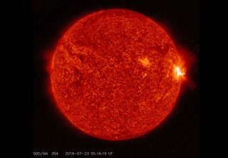 NASA's Solar Dynamics Observatory sees a mid-level M7.6 solar flare (visible as the bright flash on the right side of the sun) in this view from July 23, 2016. So far, it is the strongest solar flare of 2016.