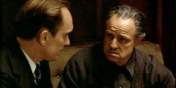 Robert Duvall and Marlon Brando in The Godfather