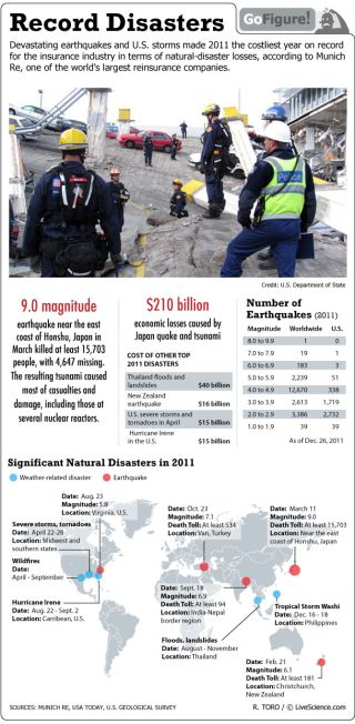 For the U.S. insurance industry, 2011 was the costliest year on record due devastating earthquakes and storms.