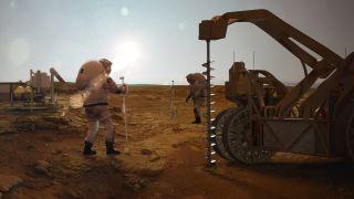An artist's illustration of astronauts mining water on Mars.