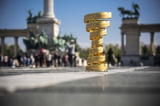 The Giro d'Italia Infinito trophy in Budapest