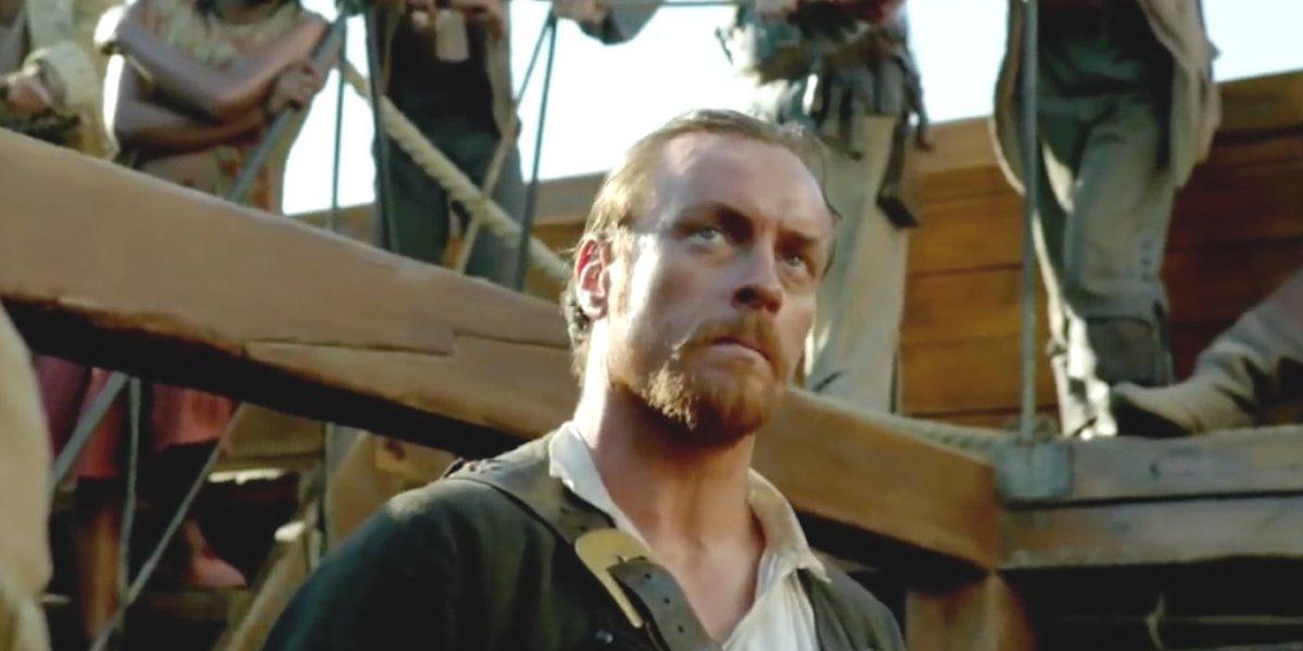 Captain Flint speaks to his crew in Season 1 of Black Sails