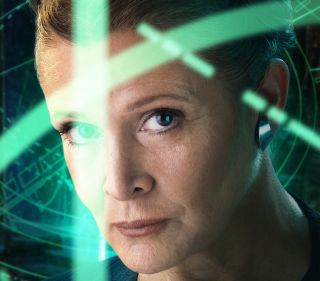 Leia's head is surrounded by green streaks