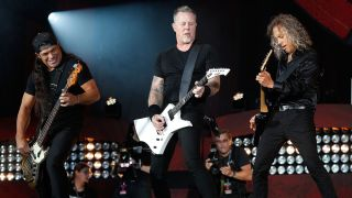 A picture showing Metallica performing live at the Global Citizen festival in New York