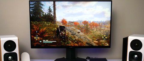 Dell S2721DGF gaming monitor running Assassin's Creed Valhalla