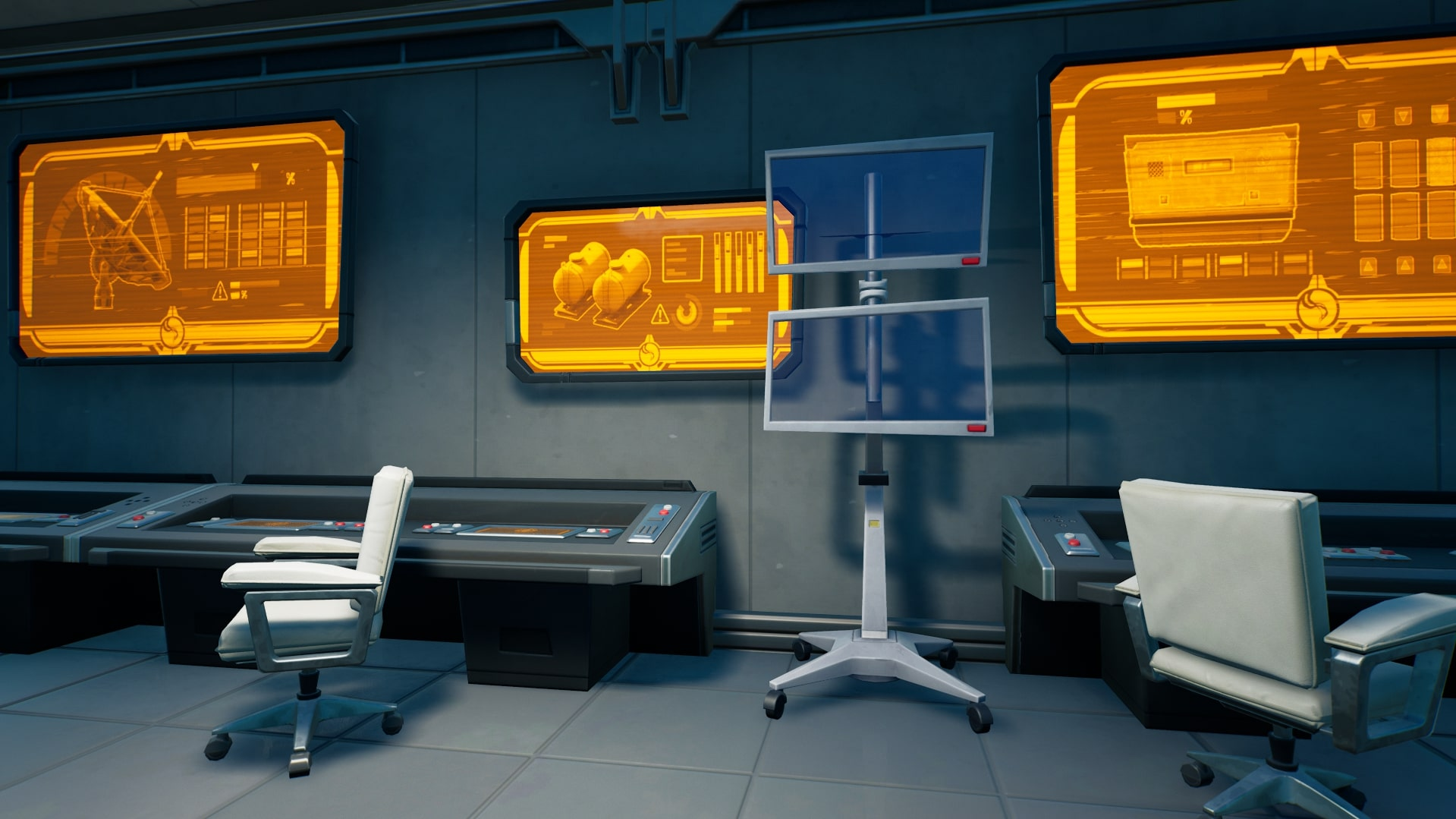Fortnite's IO equipment that's in need of repair in an office with orange displays