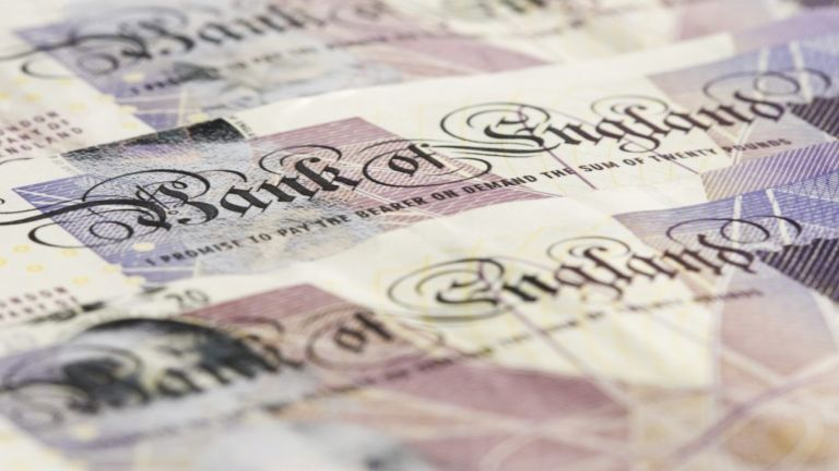 A close up of old £20 notes
