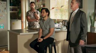 Aaron Brennan, David Tanaka and Paul Robinson in Neighbours