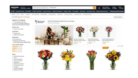 Amazon flowers review: Image shows the Amazon flowers homepage.