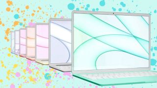 A colorful array of MacBook Air laptops against a splashing, pastel backdrop