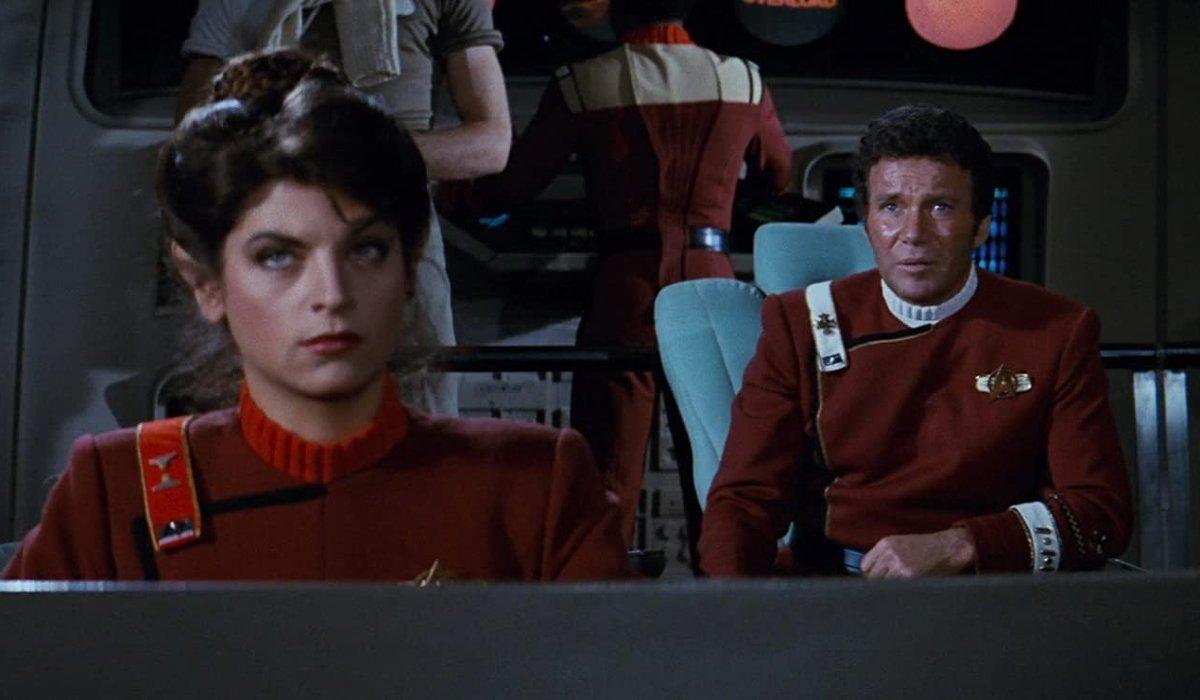 Star Trek II: The Wrath of Khan Savvik and Kirk on the bridge