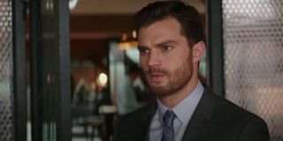 Jamie Dornan fifty shades freed scene in Ana's office at work
