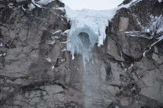 The frozen waterfall known as the 'Tsar Icicle' collapsed last week, trapping four tourists beneath a chunk of ice.