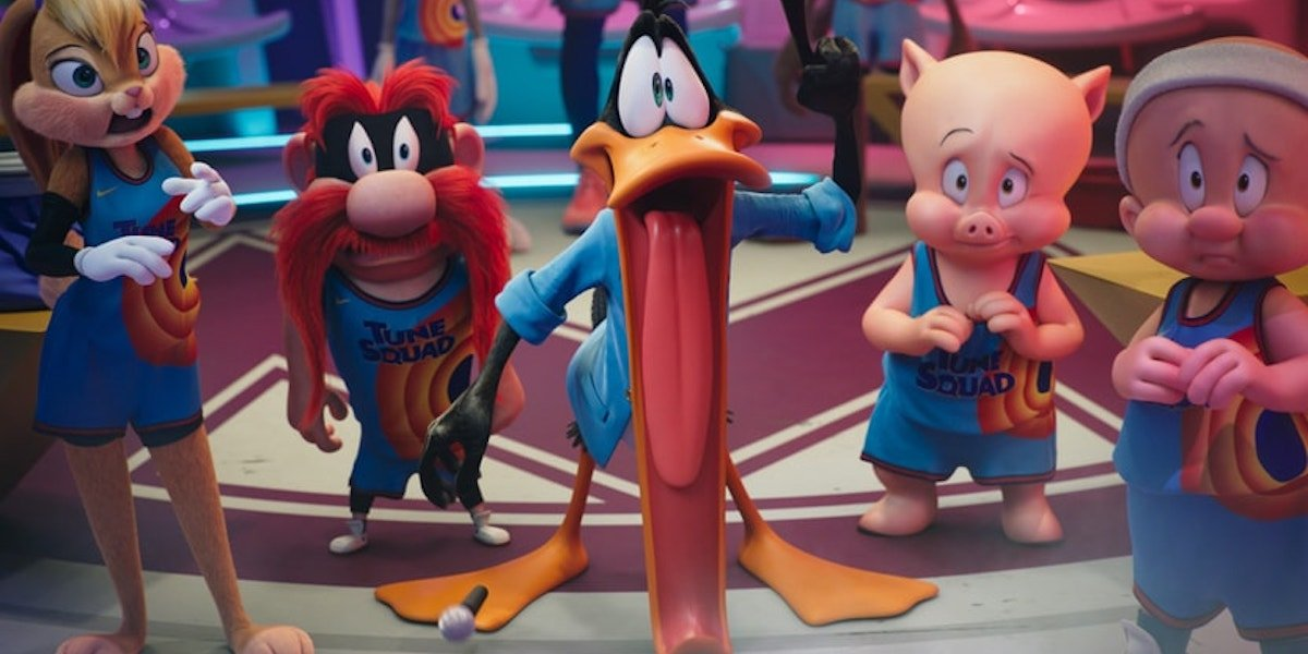 Lola Bunny, Tazmanian Devil, Daffy Duck, Porky Pig and Elmer Fudd in the Toon Squad in Space Jam: A New Legacy