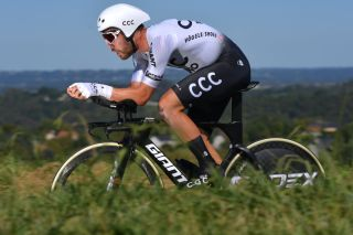 Patrick Bevin in the Vuelta a Espana stage 10 time trial in Pau