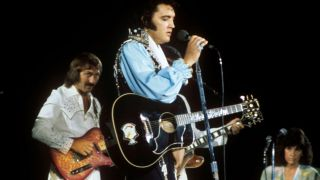 Elvis Presley and guitarist James Burton using Fender Red Paisley Telecaster