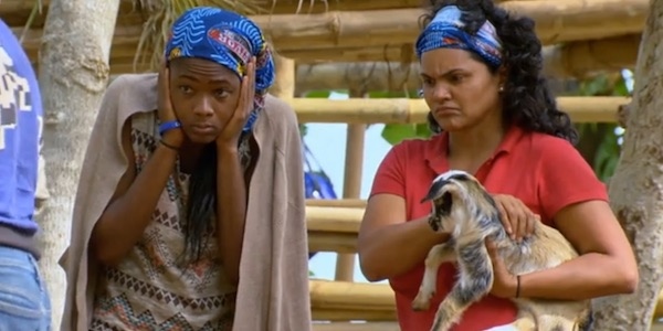 Michaela, Sandra, and a baby goat on Survivor Game Changers