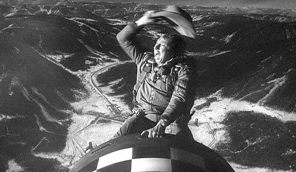 Slim Pickens rides the bomb to the world's destruction in Dr. Strangelove or: How I Learned To Stop