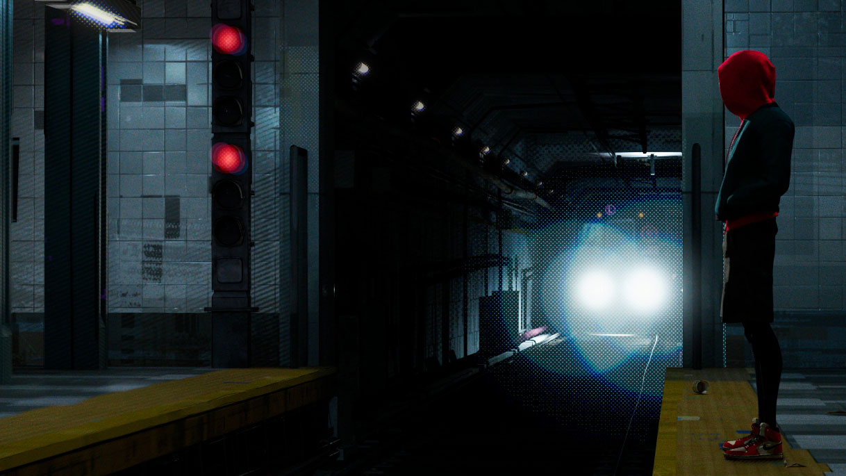 A train approaching in a dark tunnel