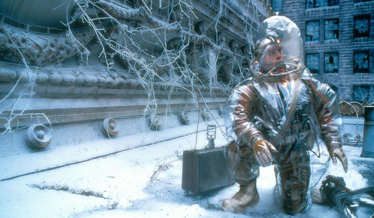 12 Monkeys Bruce Willis collecting samples in the snow