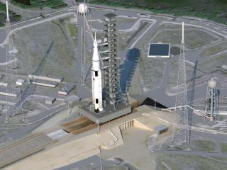 This artist's concept shows NASA's Space Launch System atop its Florida launch pad.