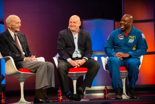 "Astronauts Michael Collins, Scott Kelly and Leland Melvin sat down with broadcast journalist Miles O'Brien for a panel called ""The Right Stuff: What It Takes to Boldly Go"" as part of the 2019 World Science Festival held in New York City."