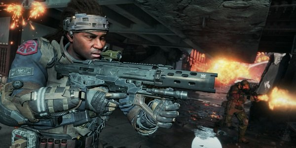 A soldier moves forward in Blackout.