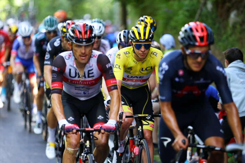 LUZ ARDIDEN FRANCE JULY 15 Tadej Pogaar of Slovenia and UAETeam Emirates Yellow Leader Jersey during the 108th Tour de France 2021 Stage 18 a 1297km stage from Pau to Luz Ardiden 1715m LeTour TDF2021 on July 15 2021 in Luz Ardiden France Photo by Tim de WaeleGetty Images