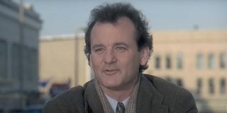 groundhog day bill murray helping people in car