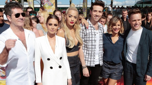 The X factor judges 2015 with presenters Caroline Flack and Olly Murs