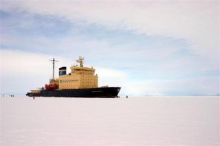 Caption: The Kapitan Khlebnikov cruise ship is a former Russian icebreaker which has been converted to a cruise liner. It makes frequent trips to Antarctica. This photo was taken in McMurdo Sound.