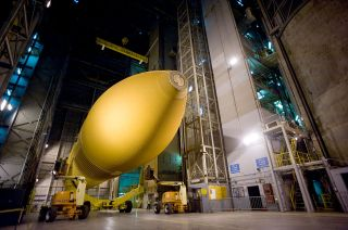 NASA's last space shuttle external tank, ET-94, seen here at the Michoud Assembly Facility in 2012, will be given to the California Science Center to go on display with Endeavour.