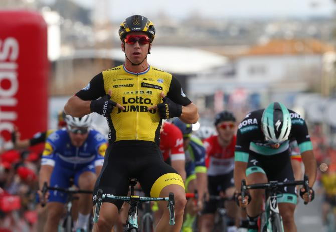 Dylan Groenewegen (LottoNL-Jumbo) makes it clear which team won