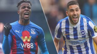 Wilfried Zaha of Crystal Palace and Neal Maupay of Brighton & Hove Albion