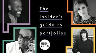 magazine spread showing four designers and title the insider's guide to portfolios