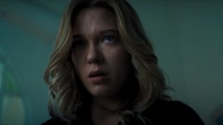 Lea Seydoux crying in fear in No Time To Die.