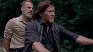 Rick Grimes (Andrew Lincoln) and Daryl Dixon (Norman Reedus) in an image from The Walking Dead season 9