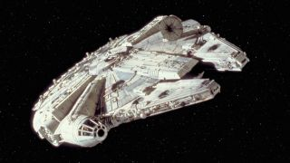 "The Millennium Falcon in ""Star Wars Episode IV: A New Hope."""