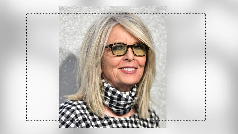 medium hairstyles collage image of diane keaton with a blown-out shag against gray background